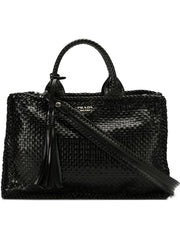 Black Leather Woven Tote Bag