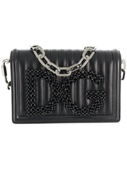 Black Quilted Logo Embellished Shoulder Bag