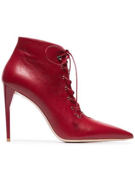 Red Leather Lace-up Boots