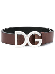 Brown Leather Logo Buckle Belt