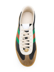 G74 Leather and Suede Web Trimmed Sneakers