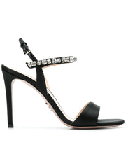 Black Crystal Embellished Sandals