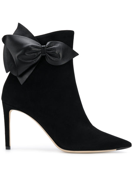 Kassidy Black Leather Bow Boots