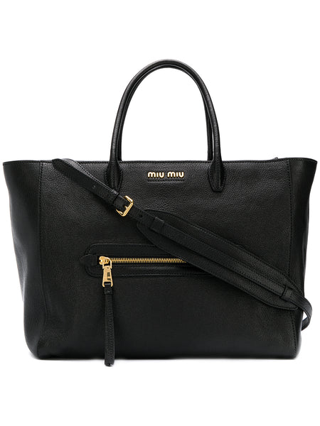 Top Handle Black Leather Tote Bag