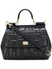 Sicily Quilted Black Tote Bag