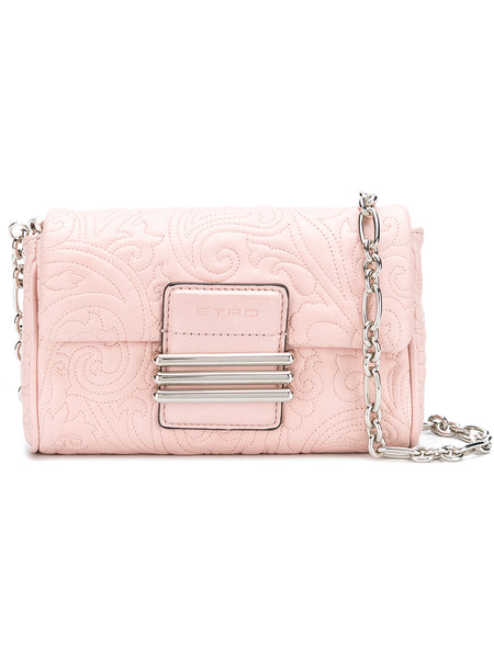 Quilted Pink Leather Clutch Bag