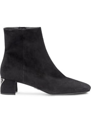 Black Suede Logo Plaque Boots