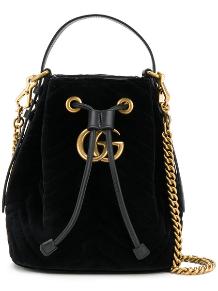 Black Velvet GG Marmont Bucket Bag