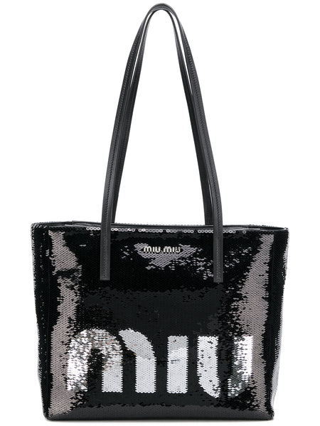 Black Sequin Logo Bag