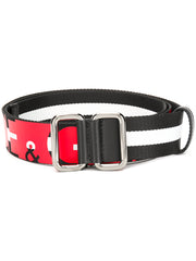 Striped Fabric Logo Belt