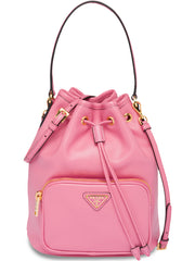 Pink Leather Bucket Bag