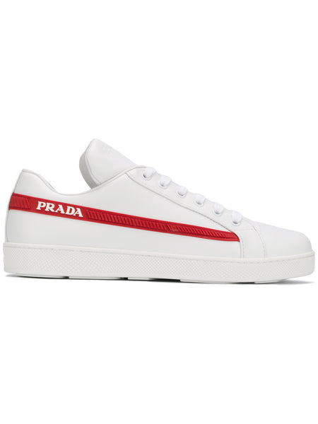 White Leather Logo Trim Sneakers