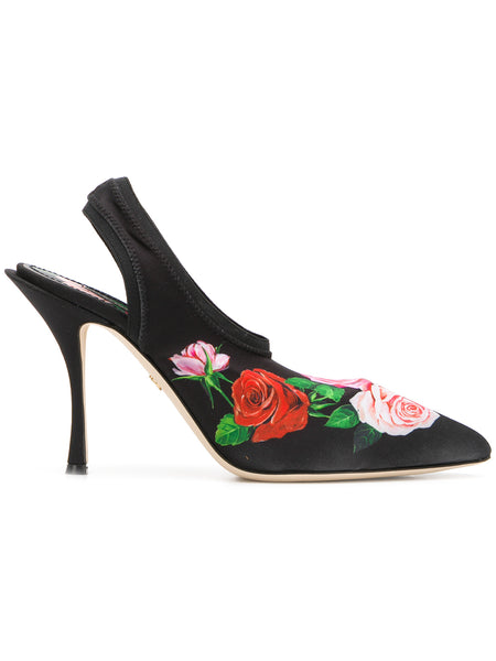 Rose Print High Heels Mules
