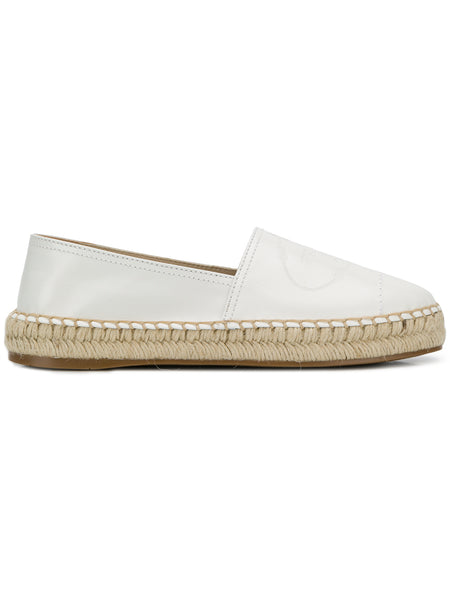 White Leather Embossed Espadrilles