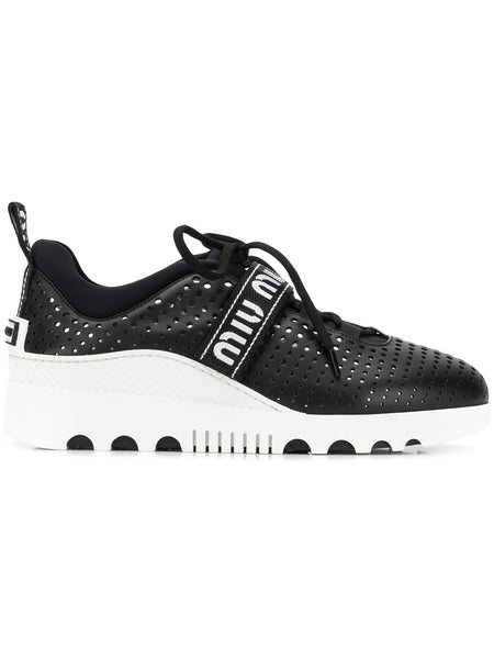 Black Leather Perforated Sneakers