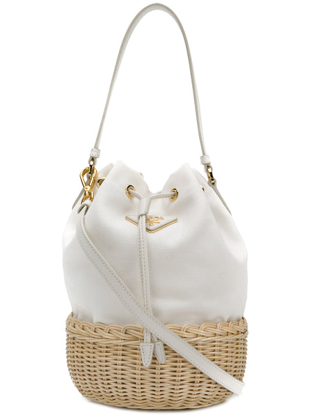 White Canvas Bucket Bag