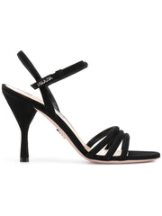 High Heel Black Suede Sandals