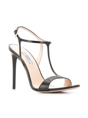 Black Leather Stiletto Sandals