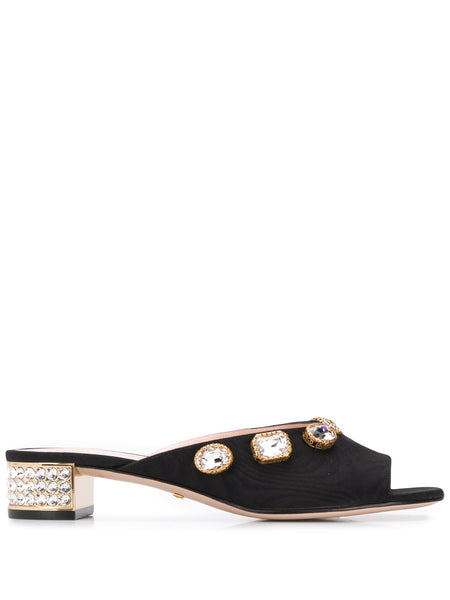 Gucci Embellished Mid Heel Sandals