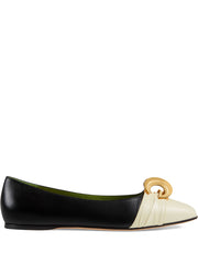 Leather Ballet Flat w/ Half Moon GG