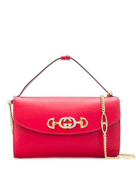 Gucci Red Leather Horsebit Shoulder Bag