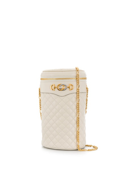 Gucci White Leather Quilted Belt Bag