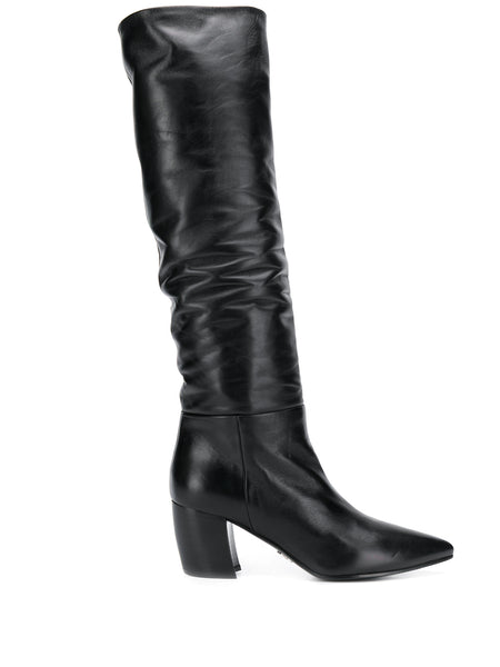 Prada Crinkle-Effect Knee High Boots