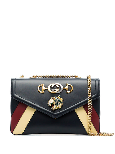 Gucci Rajah Striped Leather Shoulder Bag
