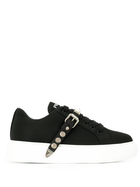 Prada Black Studded Strap Sneakers