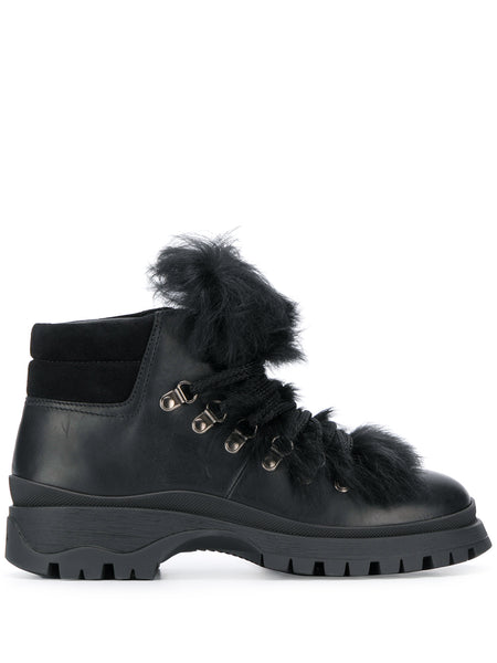 Prada Black Sherling Trim Boots