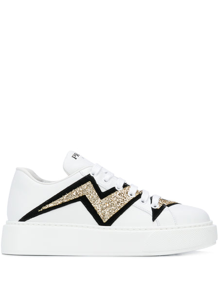 Prada Lightning Bolt White Sneakers