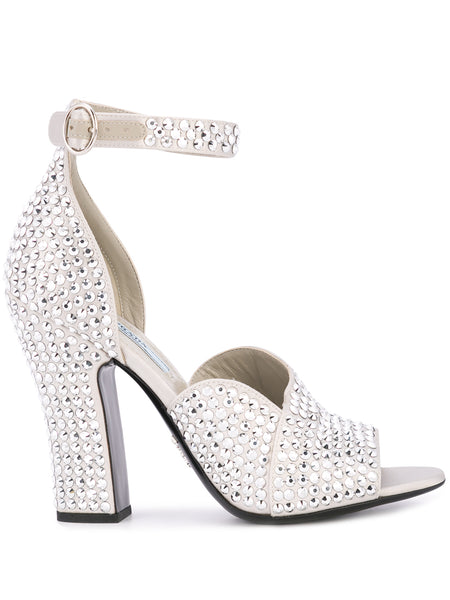 Prada Silver Embellished Sandals