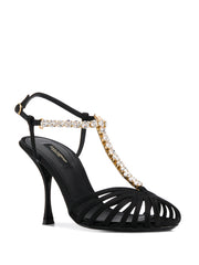 Dolce Gabbana Silk Satin T-Bar Sandals