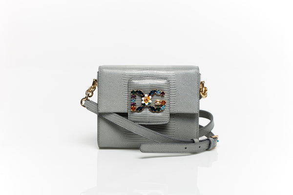 Millennials Embellished Grey Leather Shoulder Bag