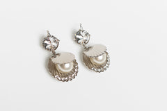 Swarovski Crystal and Faux Pearl Earrings