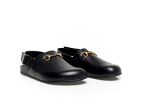 Horsebit Black Leather Slip Ons