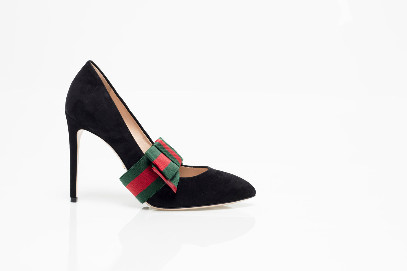 783a6a59445 Gucci Womens Shoes Suede Pump with Removable Bow