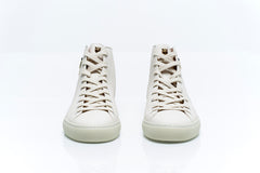 White Leather High Top Embroidered Sneakers