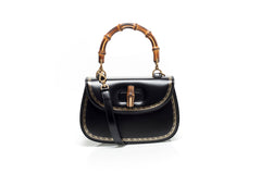 Bamboo Black Leather Top Handle Bag