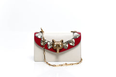Broche White Leather Shoulder Bag