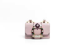 Miu Lady Purple Embellished Shoulder Bag