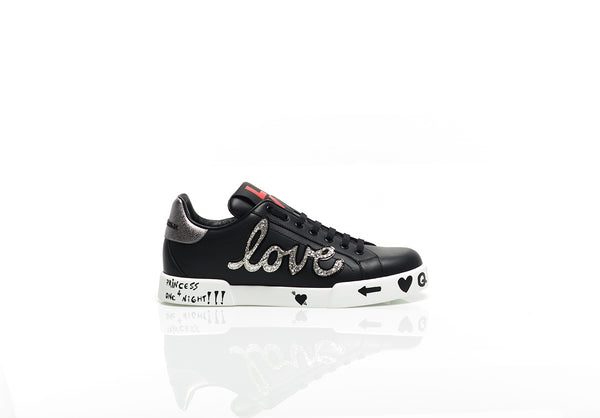 Black Leather Portofino Patch Sneakers