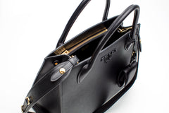 Black Saffiano Leather Tote Bag