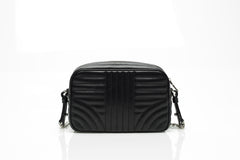 Quilted Black Leather Camera Bag