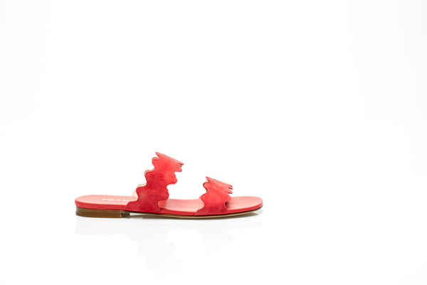 Scalloped Coral Suede Sandals