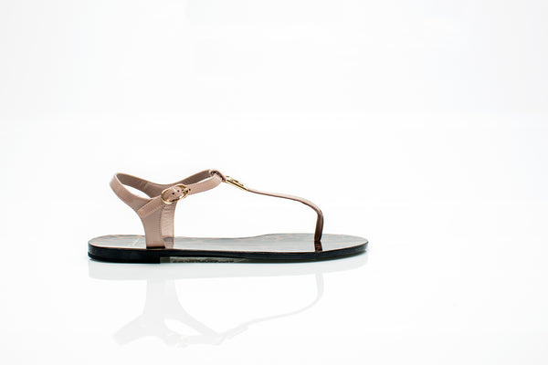 Patent Beige Leather Thong Sandals