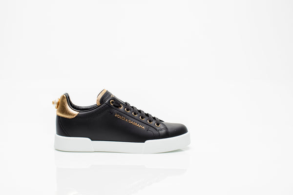 Black Leather Sneakers with Gold Heel Tab