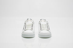 White Leather Sneakers with Silver Heel Tab