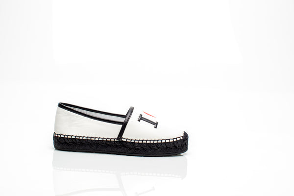 "White Leather ""I LOVE DG"" Espadrilles"
