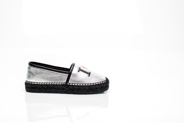 "Silver Leather ""I LOVE DG"" Espadrilles"